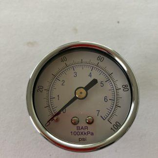 """2"""" DIA AIR PRESSURE GAUGE 0-100 PSI 1/4"""" BACK MOUNT"""