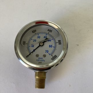 2 1/2 Dia Stainless Steel Case 0-1000 PSI Range 1/4 Bottom Connect AFC-1M-25 201L-254M