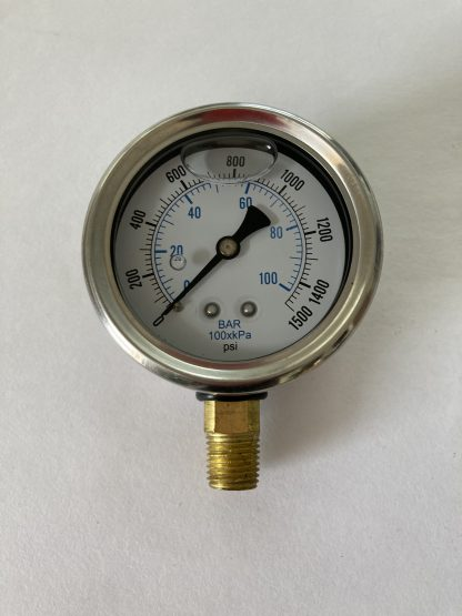 2 1/2 Dia Stainless Steel Case 0-1500 PSI Range 1/4 Bottom Connect AFC-1500-25 201L-254N
