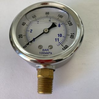 2 1/2 Dia Stainless Steel Case1-160 PSI Range 1/4 Bottom Connect AFC-160-25 201L-254F