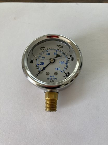 2 1/2 Dia Stainless Steel Case Liquid Filled 0-2000 PSI Range 1/4 Bottom Connect AFC-2M-25 201L-254O