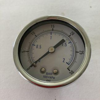 """2"""" DIA AIR PRESSURE GAUGE 0-30 PSI 1/4"""" BACK MOUNT"""