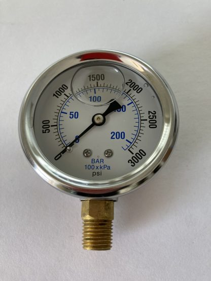 2 1/2 Dia Stainless Steel Case Liquid Filled 0-3000 PSI Range 1/4 Bottom Connect AFC-3M-25 201L-254P