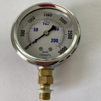 2 1/2 Dia Stainless Steel Case Liquid Filled 0-3000 PSI Range 7/16-20 SAE Bottom Connect