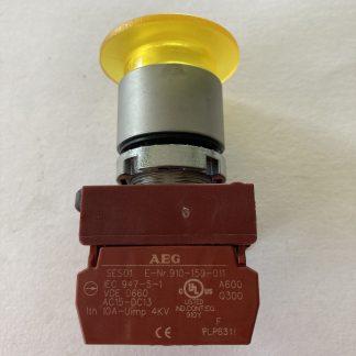 AEG 22MM Pushbutton Yellow Push/Pull 1 N/C Contact